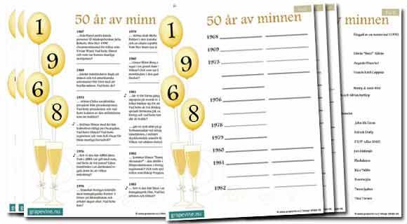 tipspromenad 50 års fest Quiz till 50 årsfesten   gratis inbjudningar | grapevine.nu tipspromenad 50 års fest