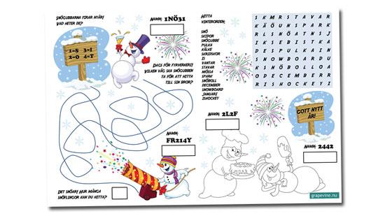 Bordstablett med pyssel för barnen till nyårsfesten  4100a7d1b438e